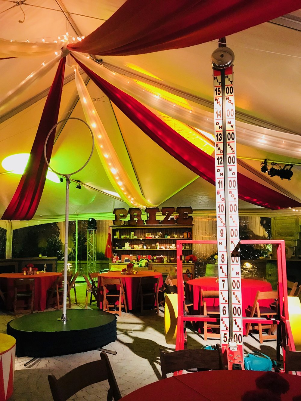 Tent with lights and additional flairs of color and decor.