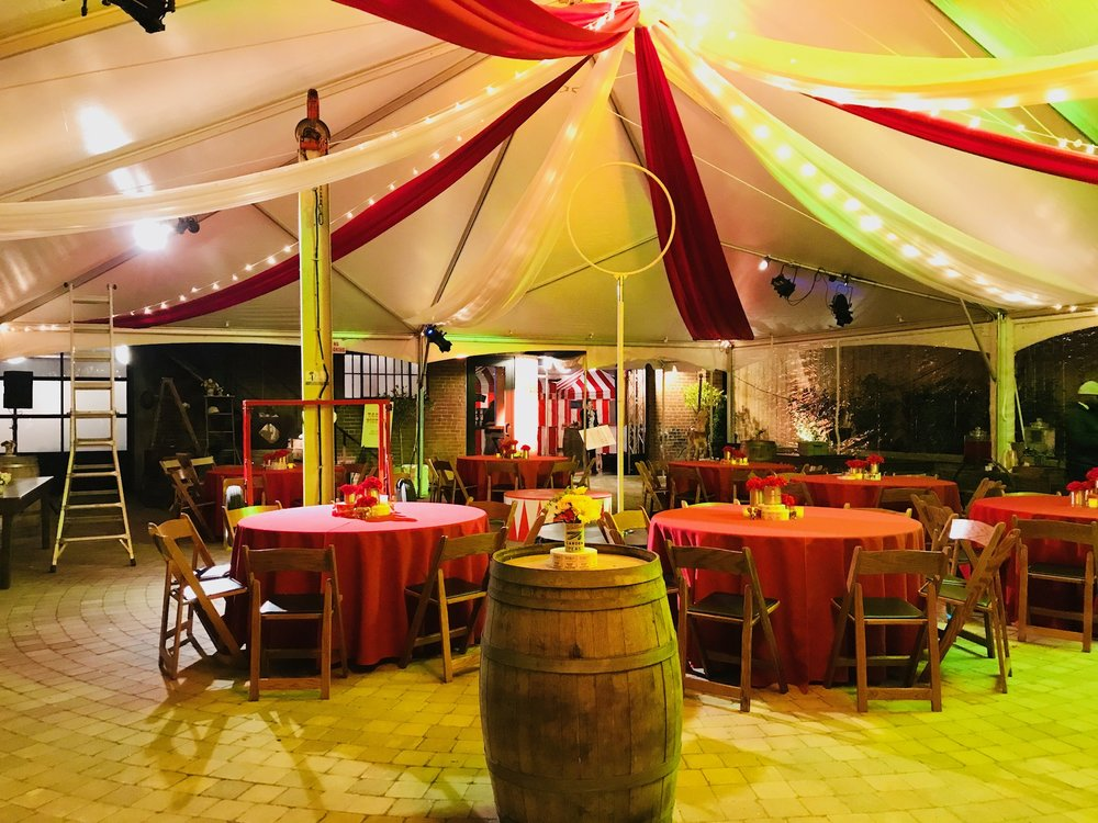 40' x 50' tent is from American Party Rentals, and fits wonderfully in our cobblestoned garden!