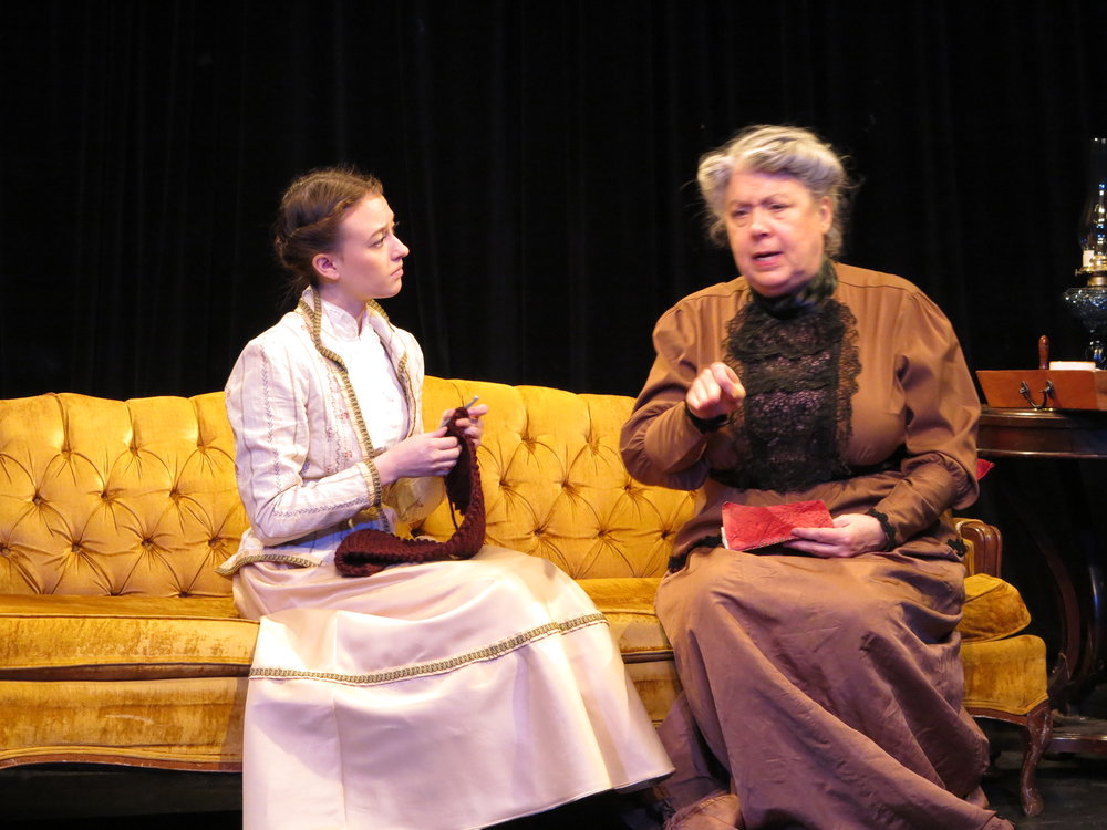 "Bailey Newman plays The Daughter and Jo Vetter plays the Captain's old Nurse in ""The Father"" by August Strindberg, Photo by James Rucinski."