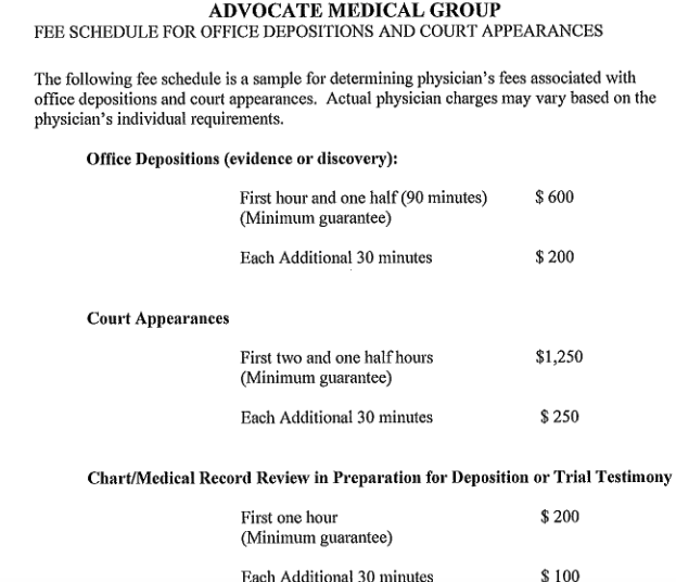 AMG suggested fee schedule for depositions, testimony, and record review.