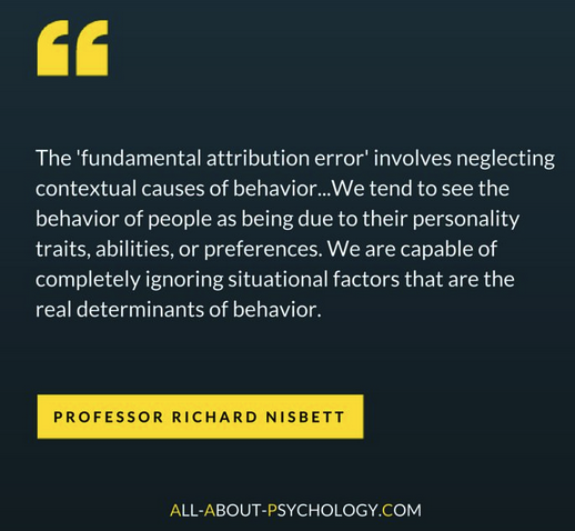 "Be careful not to attribute a patient's behavior to some personality or character flaw rather than to their illness, pain, or injury. This bias is called the ""Fundamental Attribution Bias"""