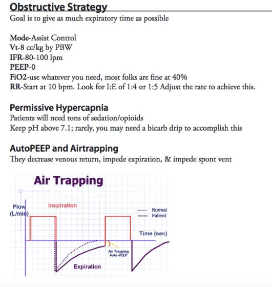 Obstructive Ventilation Strategy  EMCRIT reference