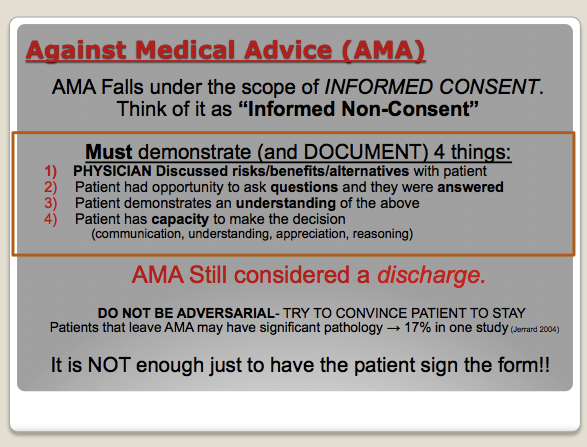 AMA is a high risk ED discharge situation. The above points are all very important.