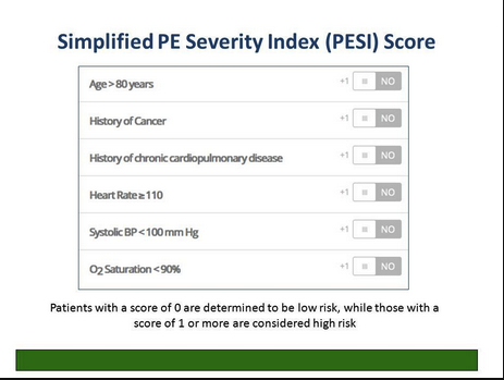 High risk PESI scores warrant consideration of ICU admit.
