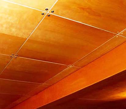 Dress up your basement with our custom wood panel ceiling