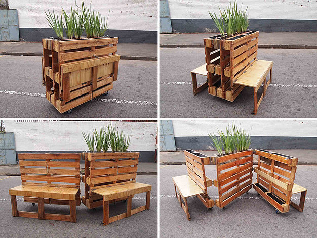 Cool idea for collapseable pallet furniture