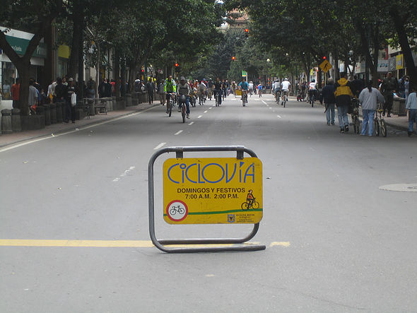 Ciclovia in Bogota, Colombia opens up many of the city's streets to active transportation during certain times every week, promoting consistent physical activity and civic engagement among its residents. (Photo courtesy of Wikipedia)