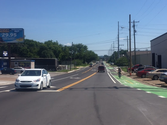 Mayor Megan Barry: Yesterday (July 11, 2017) we officially opened the 51st Avenue complete street in The Nations. This is a fast-changing neighborhood, and we knew we needed to make the street work better for drivers, bicyclists, and pedestrians alike without adding time to their commutes.    The two-way turning lane, on street parking, slower speed limits, and obvious dedicated bike lanes will help Nashvillians move around efficiently and safely.