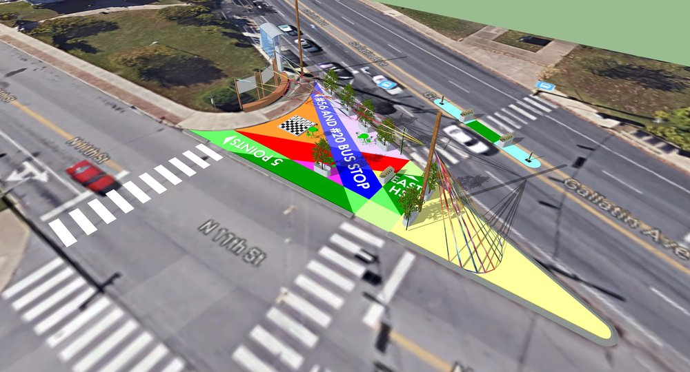 Rendering of proposed Placemaking installation.