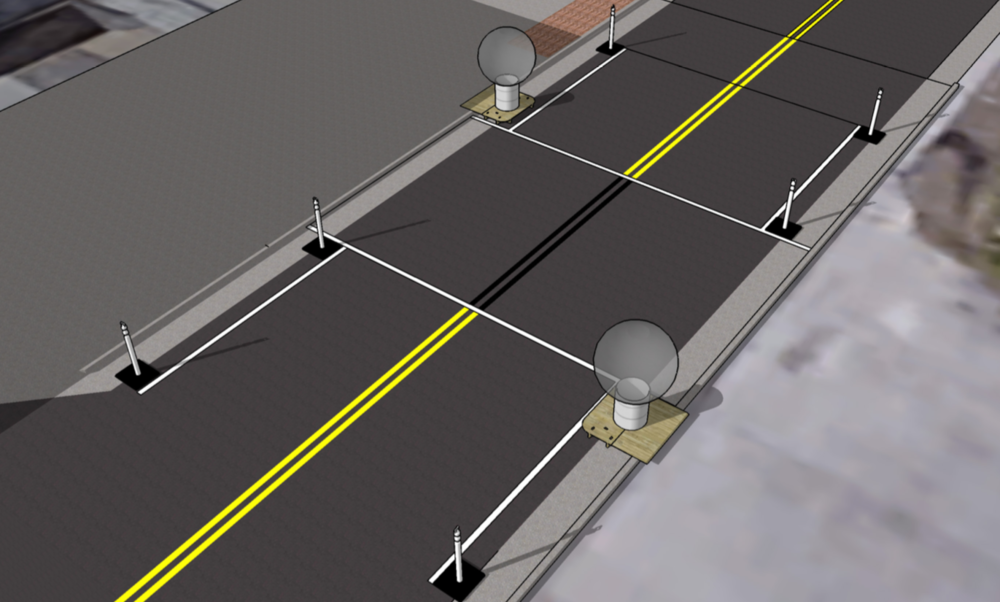 The crosswalk will be constructed using materials shown below