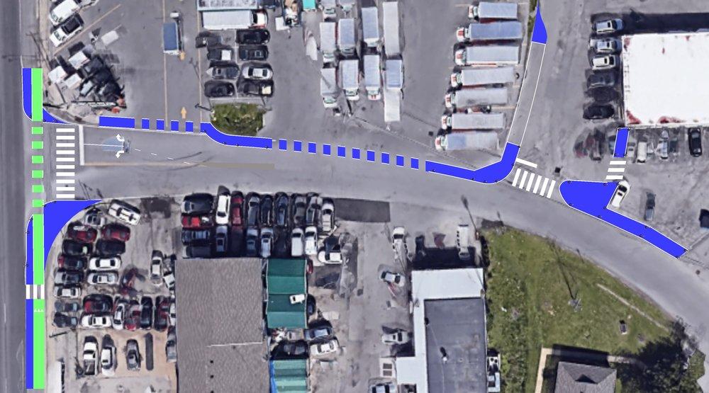 Original concept design for a pedestrian buffer connection from Salahadeen Center to the Elysian Fields Station Inbound