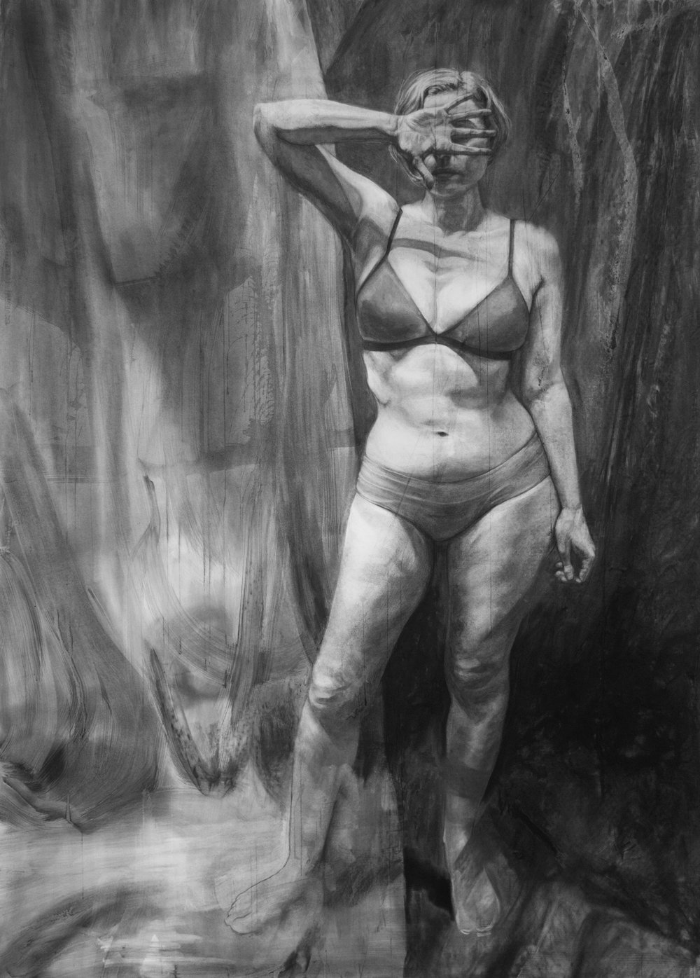 When I Close My Eyes There's Stillness  Charcoal on paper  76x55 inches  2018