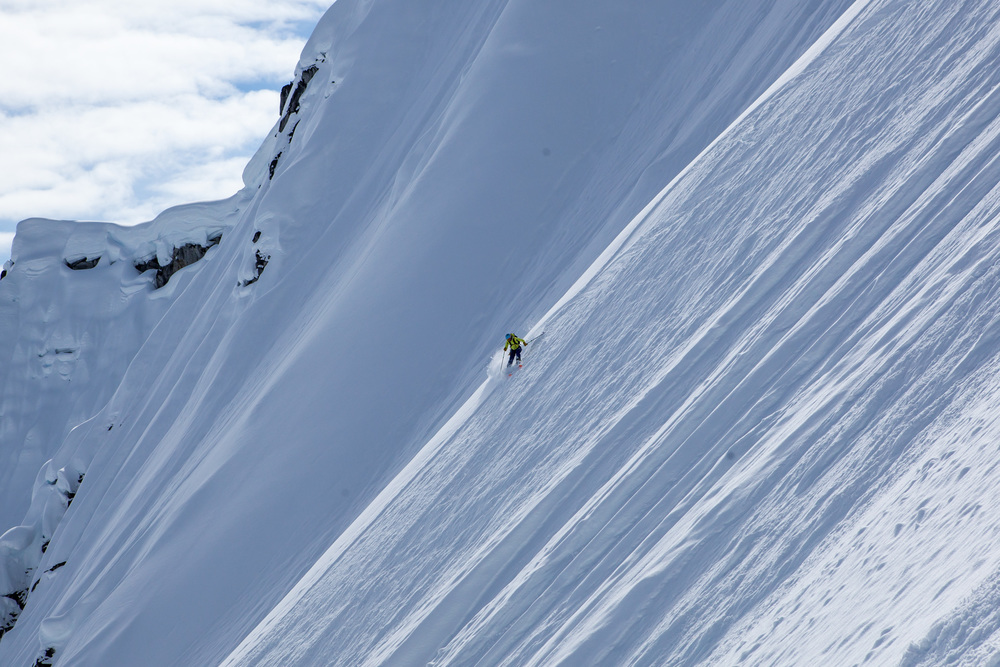 Hilary McCloy skiing in the Alaska Range.