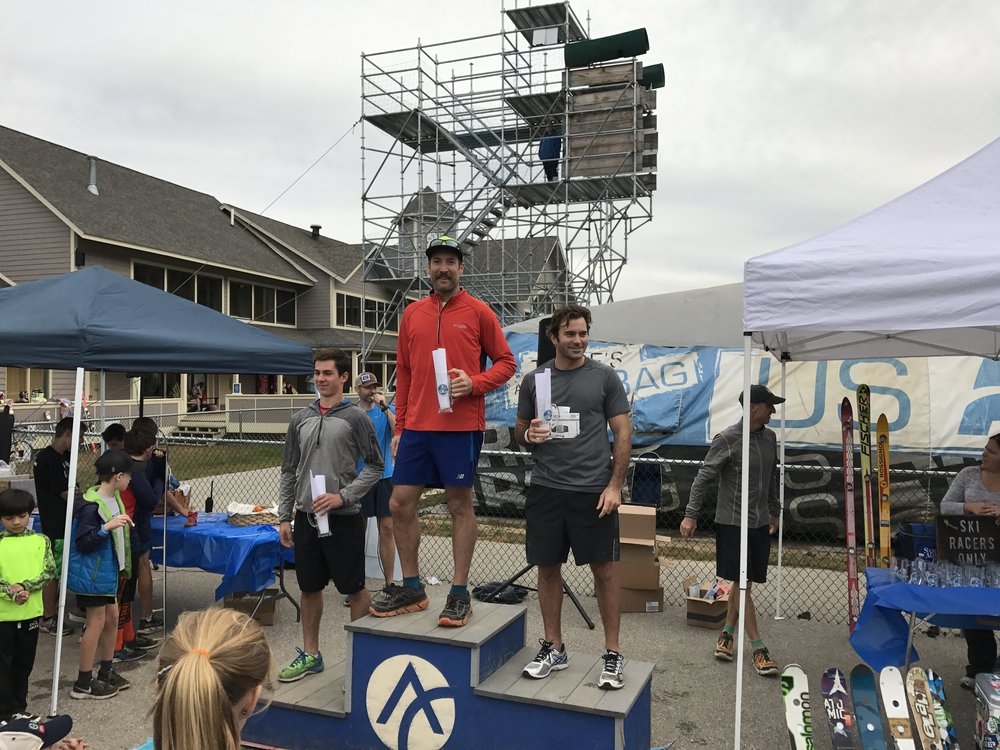 Hills & Hops 5k Podium. 2nd place: Brendan Good, 3rd Place Noah Geary.