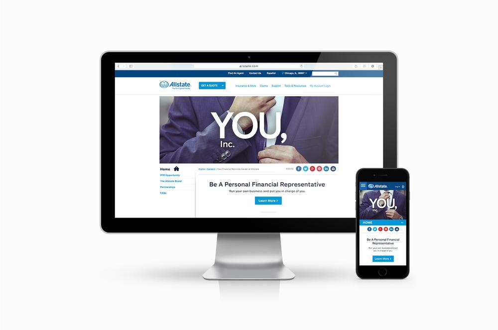 responsive website design for allstate personal financial representative recruitment on allstatecom