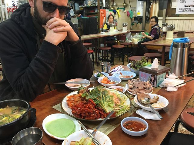 "Nobody has ever written ""come to Seoul"" ""why no stop in Seoul???"" under a list of tour dates we posted. So we came. Here's Dom struggling w a strange smelling soup"