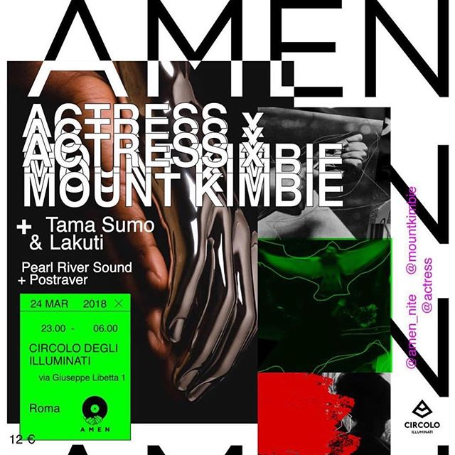 Actress b2b DJ tour continues! Roma tonight 🇮🇹 with Tama Sumo & Lakuti !!