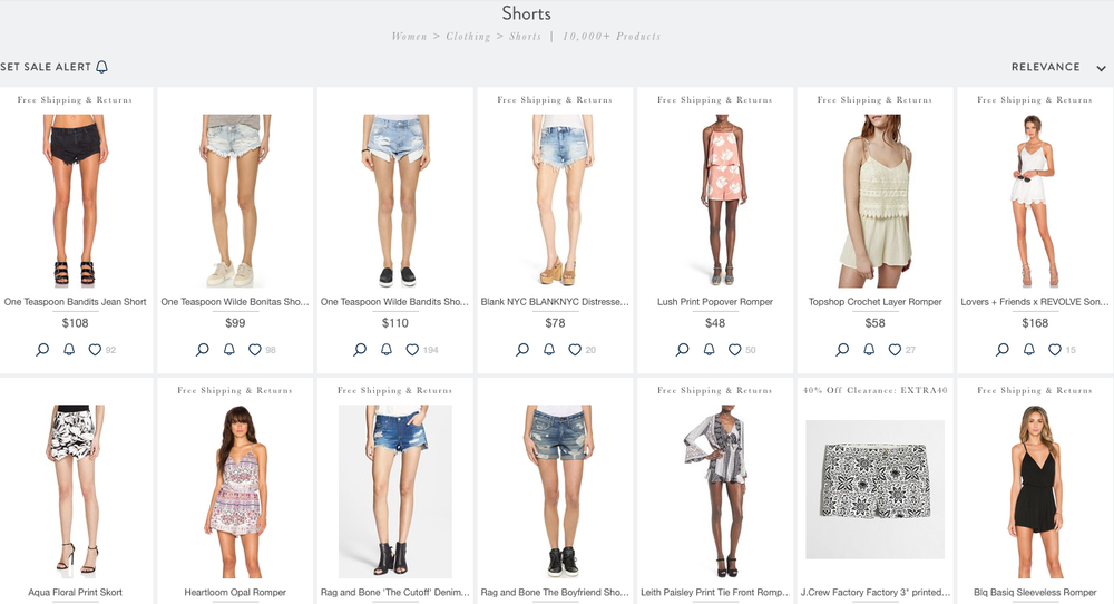 """Shorts"" search results on Shopstyle.com"