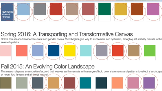 All Color Swatches from Pantone Fashion Color Reports