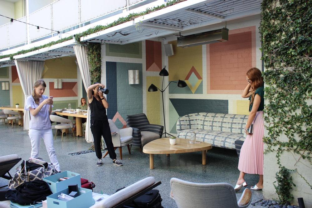 Hard at work at Location #1,  Viviane Restaurant  in Beverly Hills