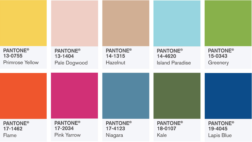 Pantone's beachy neutrals Dogwood, Hazelut, Island Paradise, and Niagara playing off Spring/Summer Brights