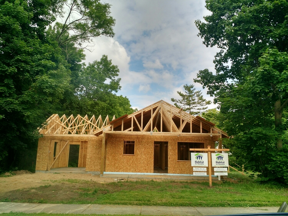 Trusses and plywood up!!
