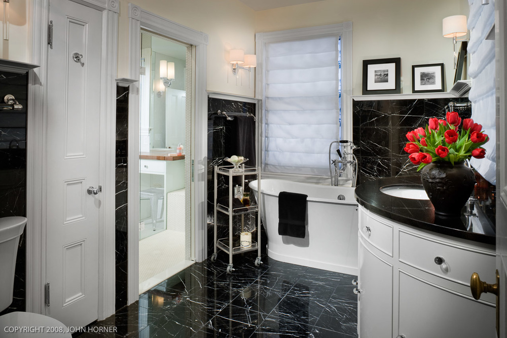 Another view of black and white master bath.