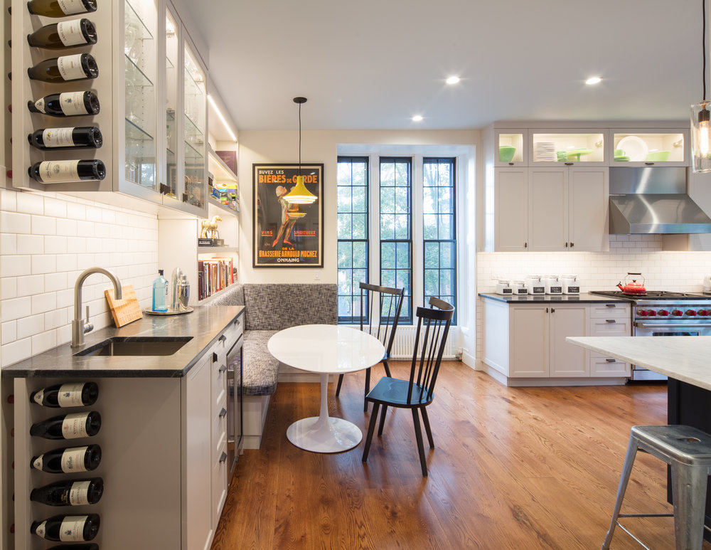 Custom cabinetry, original floor-to-bay window; a blend of new and old.