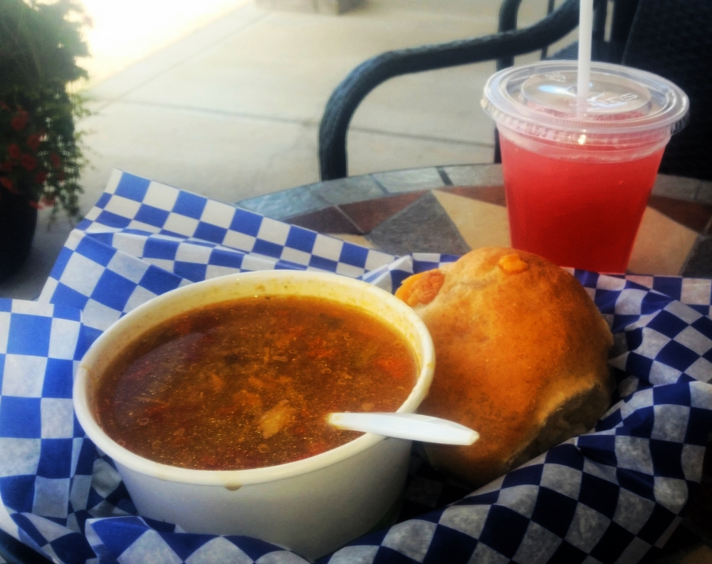 Stuffed Club Bun with Turkey and Wild Rice Soup. Some Saskatoon Berry Lemonade to cool off...