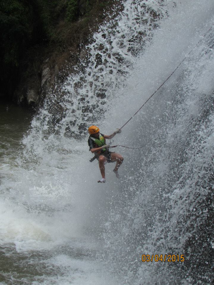 Me repelling down the largest waterfall