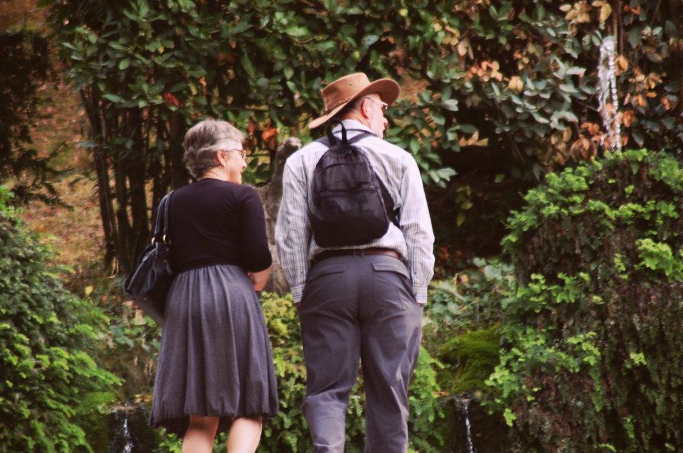 A couple enjoying the gardens