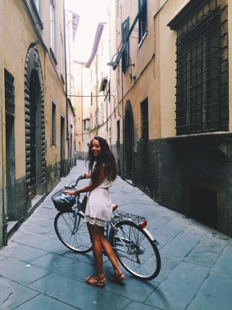 Biking through the town