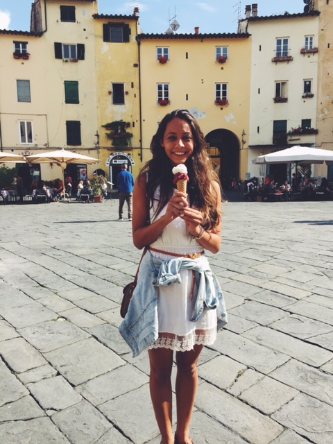 Enjoying a gelato in the heat of the day