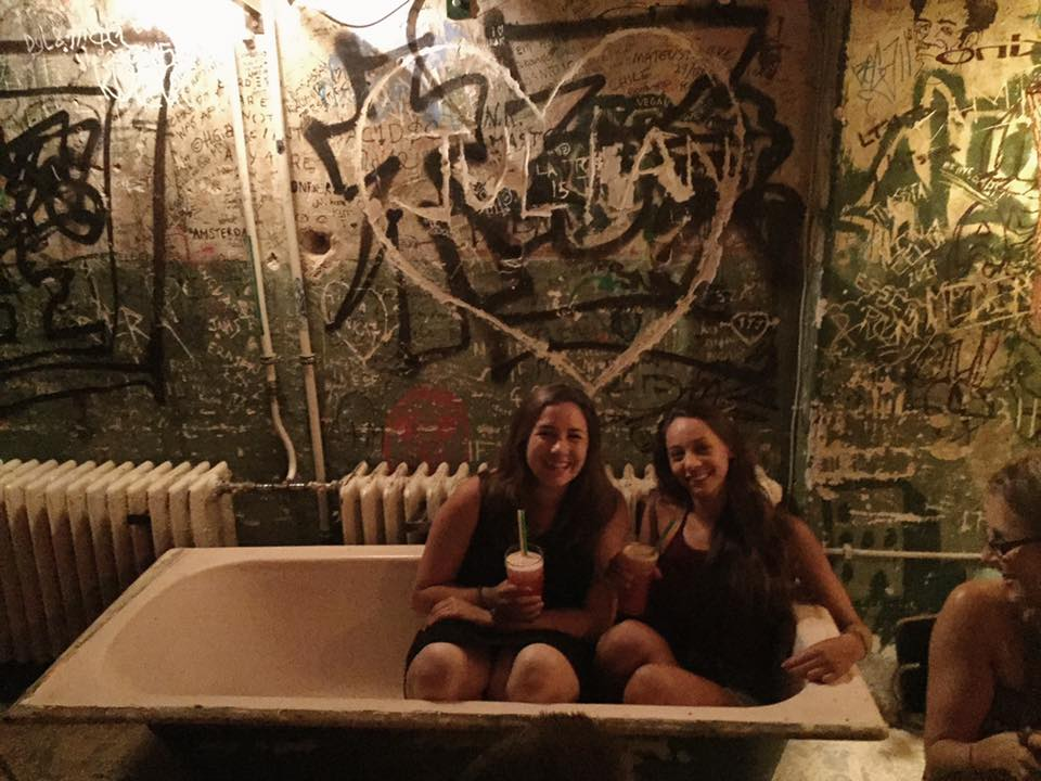 Rachel and I enjoying our drinks in the bathtub