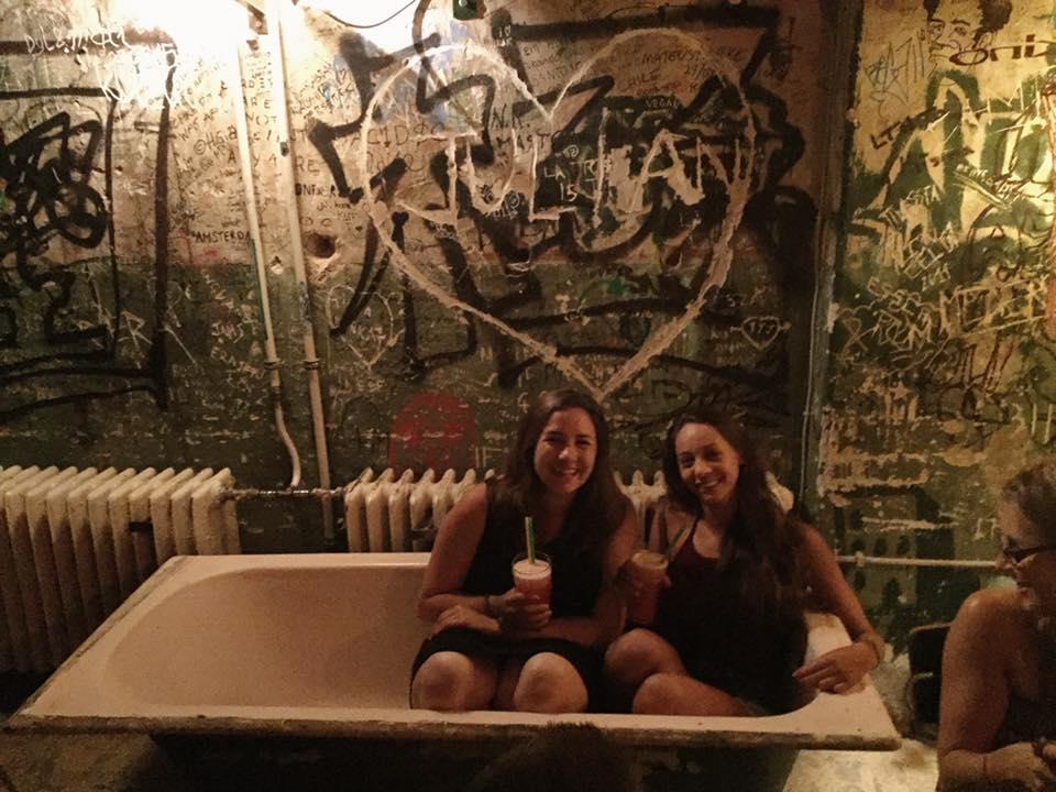 Rachel and I enjoying our drinks in the bathtub