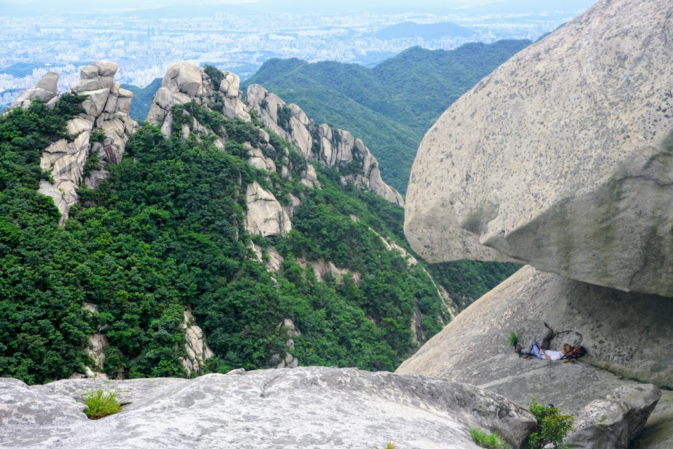 sprawling views of Seoul while hiking in bukhansan national park