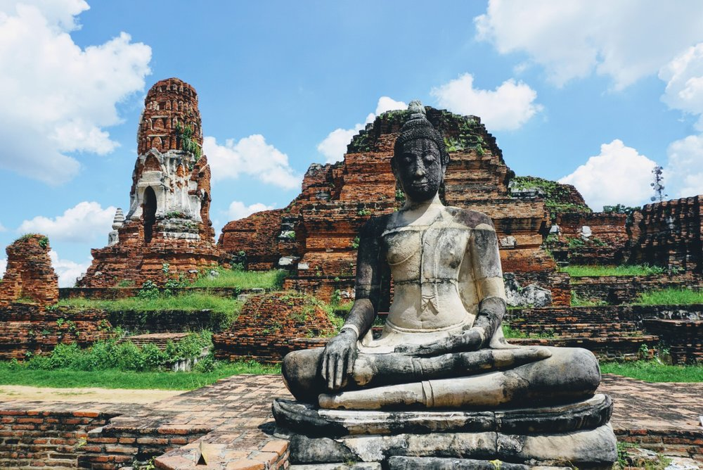 Exploring Wat Phra Mahathat on a day trip to Ayutthaya, Thailand