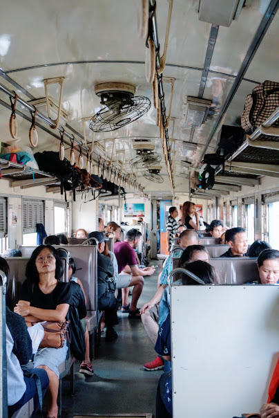 Taking the train on a day trip to Ayutthaya