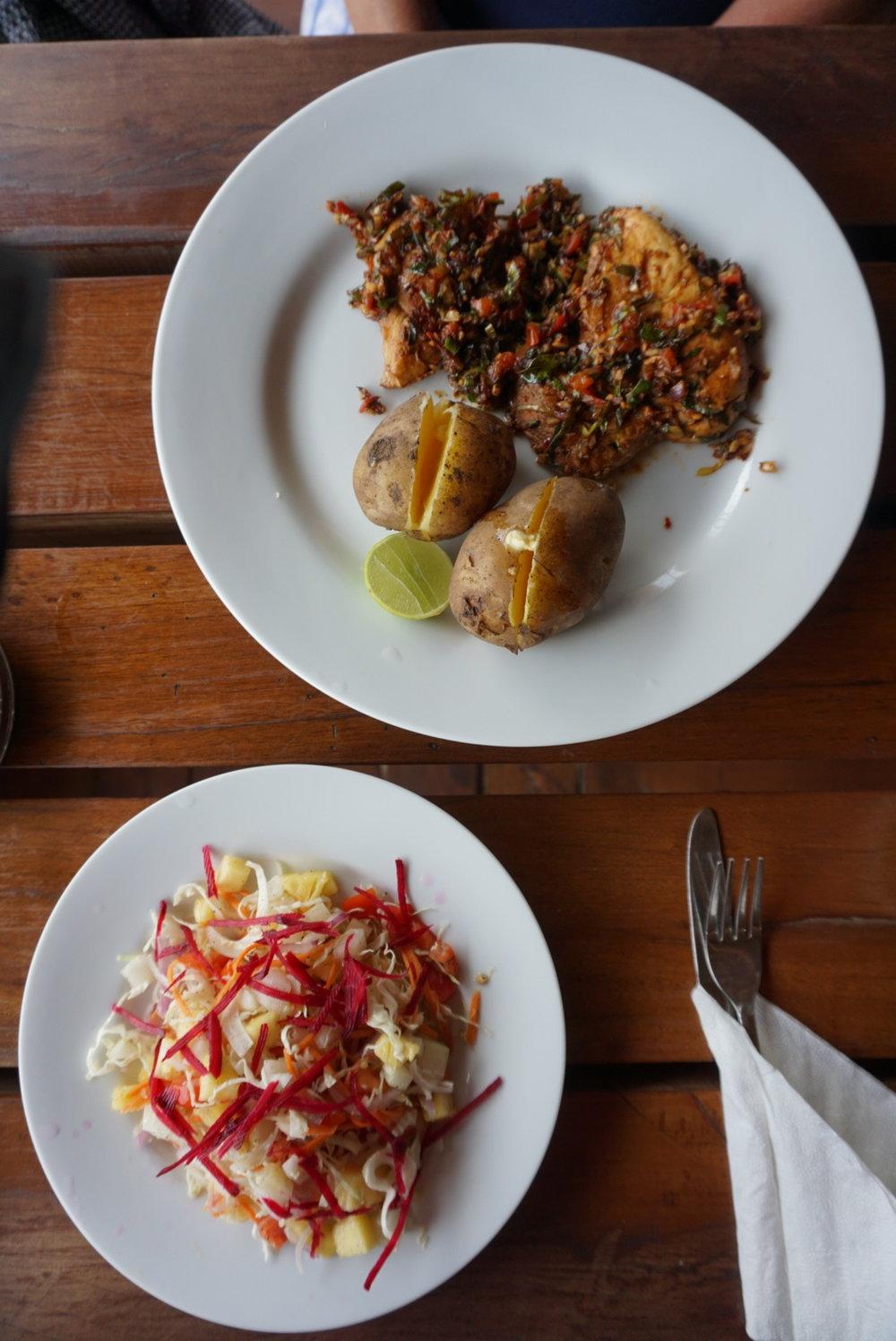 Delicious beachfront meal in Tangalle, Sri Lanka