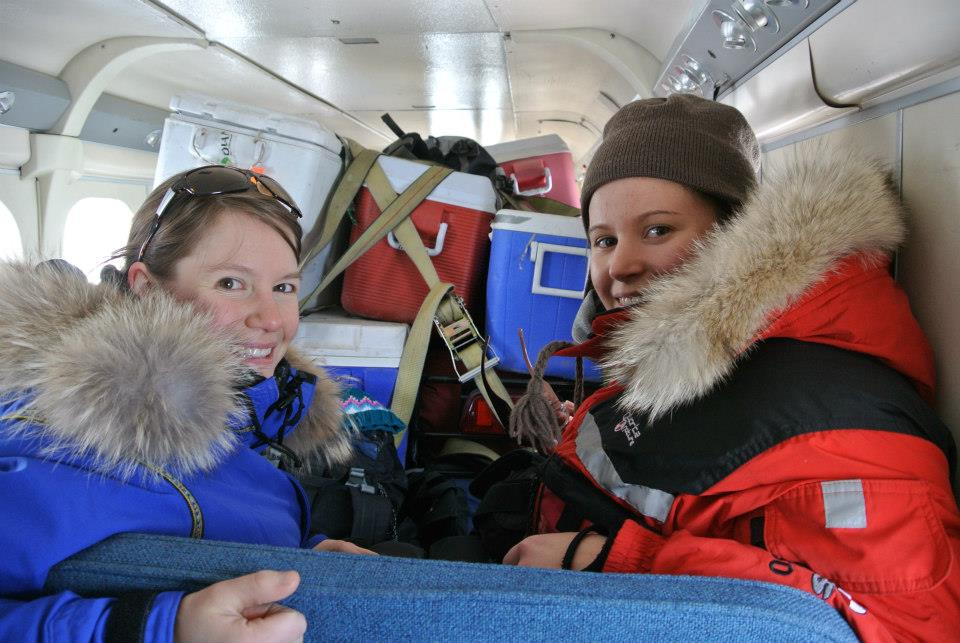 Myself and University of Ottawa Ph.D student Laura Thomson ready to go on the twin otter aircraft.