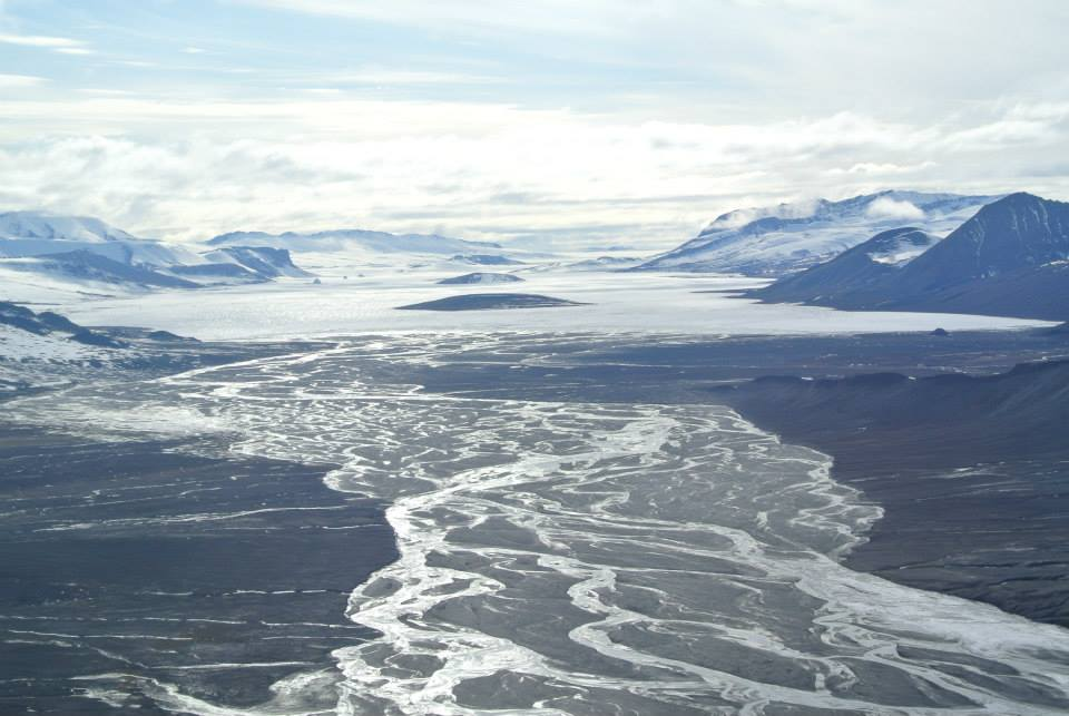 Scenery on Axel Heiberg Island from a helicopter. Strand Fiord area.