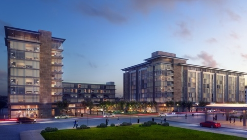 Rendering of Aloft and Element Hotels on D St.