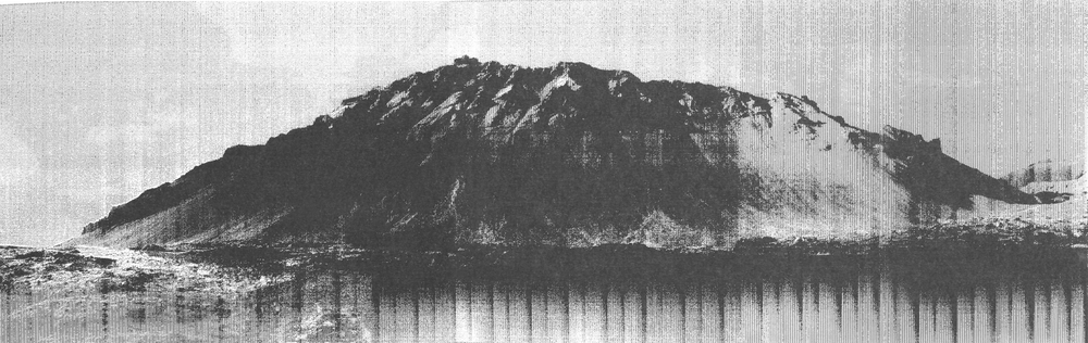 "Image © Lucy Helton. ""Transmitted Geological Landscape 8φ 64° 48' 13'' Nλ 23° 46' 41'' W"", Thermal Print. 2014"