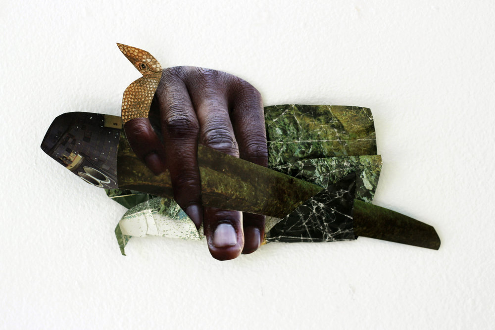 "Image © Suné Woods. ""Mano a Mano"", 5"" x 9"" photo collage, 2015."