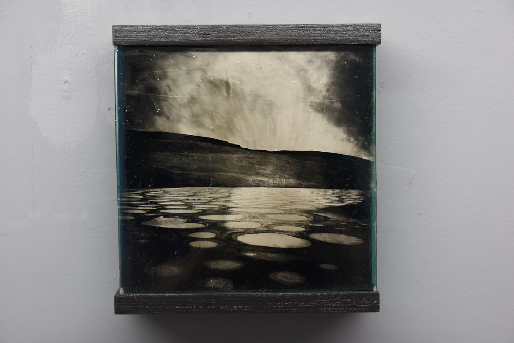 "Angela Jones,  Spotted Lake , 15"" x 15"" ambrotype on stained glass"