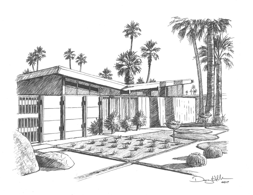 Twin Palms House Drawing