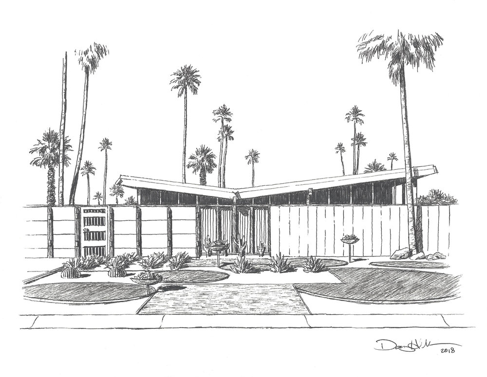 Twin Palms Modern House Drawing