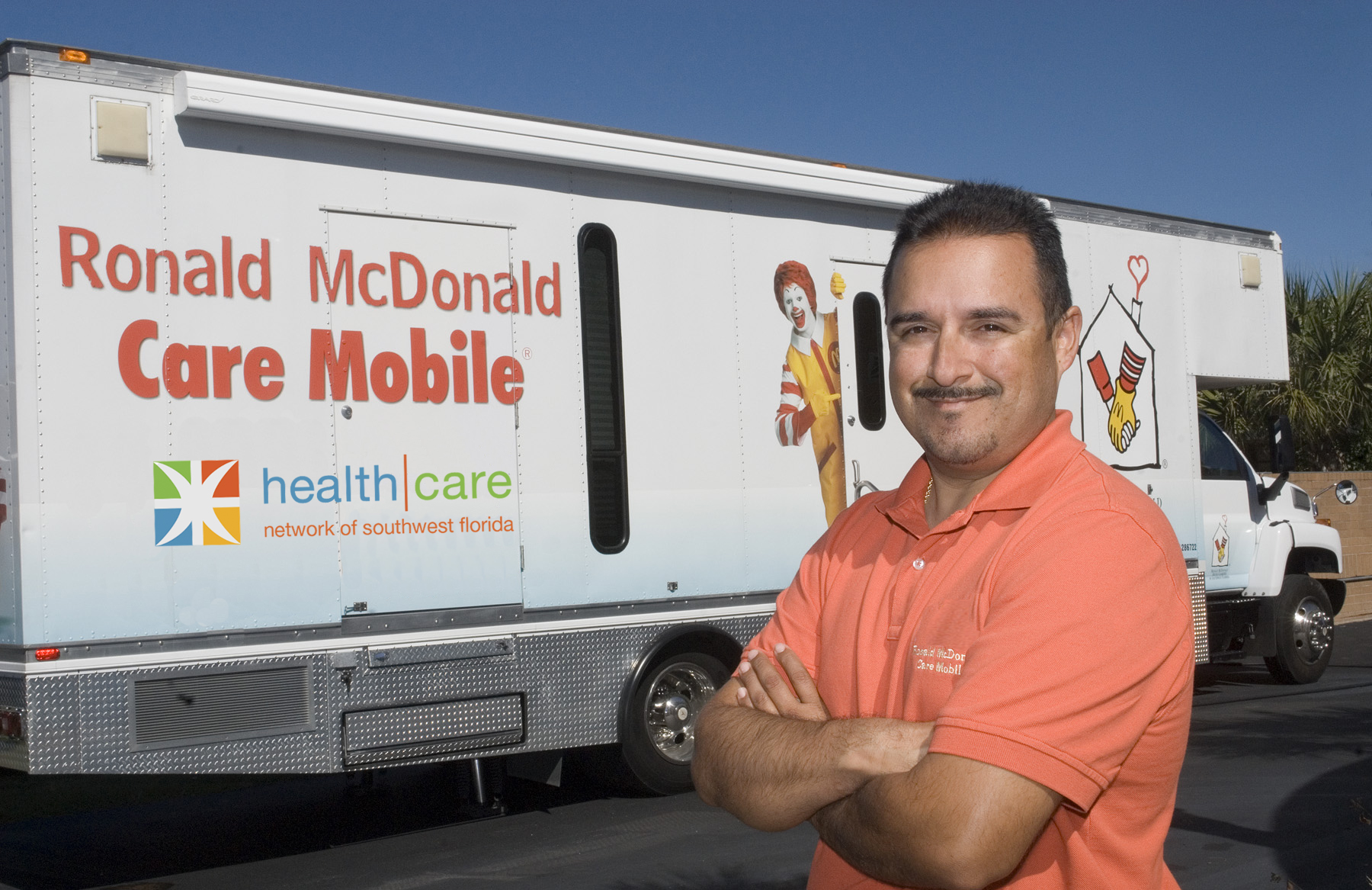 Driver Andy Gutierrez with the Ronald McDonald Care Mobile.