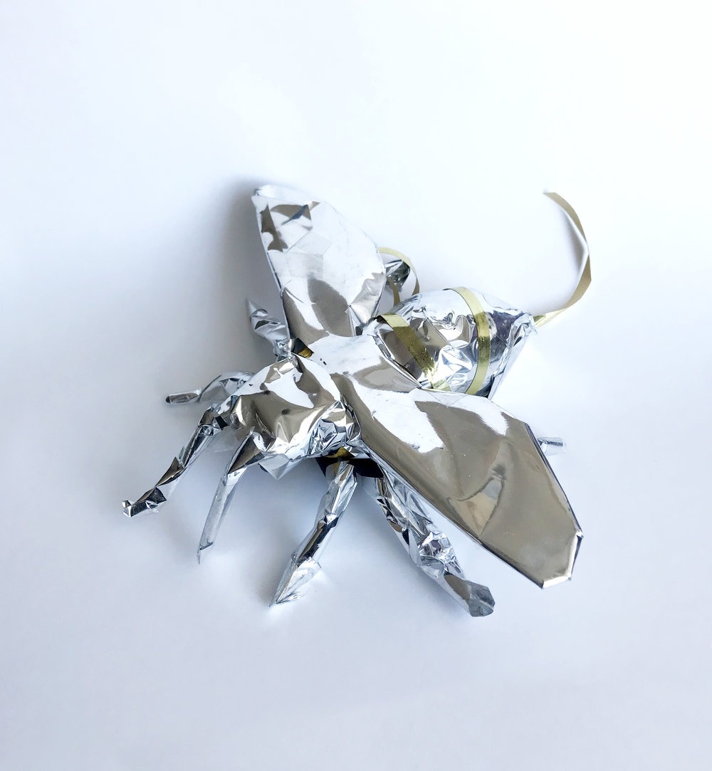 Gemma Gene__wrapped bee__5_x6_x2__resin and chrome_1 out of 10_2017_$1200.jpg