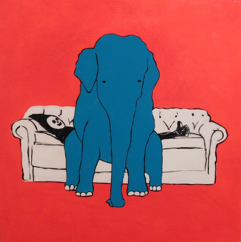 Brian Leo_ Elephant On Couch_20 inx20in_acrylic on canvas_2017_$1500.JPG